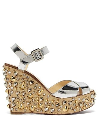 49fdd4806f39 Christian Louboutin Almericca 120 Cork Lamé Studded Wedge Sandals - Womens  - Silver Gold