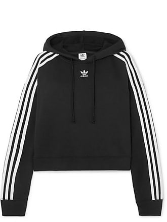 adidas Originals Cropped Striped Cotton-jersey Hoodie - Black