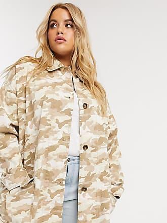Asos Curve ASOS DESIGN Curve washed oversized jacket in camo-Multi