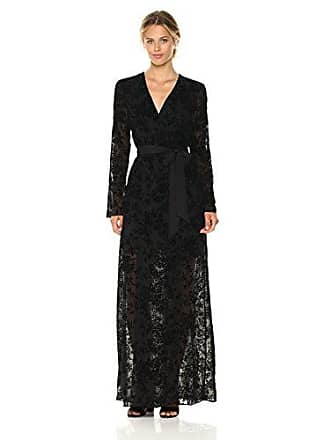 BCBGeneration Womens Faux Wrap Long Dress, Black, Small