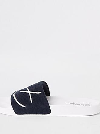 c57c34967d1a River Island Mens Navy Prolific embroidered sliders