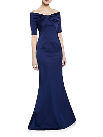Teri Jon Off-the-Shoulder Elbow-Sleeve Stretch Satin Mermaid Gown w/ Twist Detail