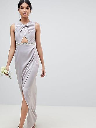 be4f0bb86db5 Asos Tall ASOS DESIGN Tall - Vestito lungo a incrocio decorato con perle -  Grigio