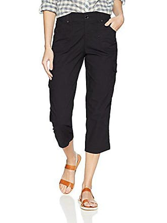 Lee Womens Relaxed Fit Nikki Knit Waist Cargo Capri Pant, Black, 4