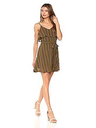 J.O.A. JOA Womens Cold Shoulder Stripe Fit & Flare Dress, Olive Multi, X-Small