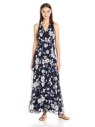 Chetta B Womens Floral Maxi Dress, Navy/Grey, 14