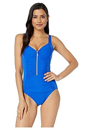 c9c5a1b5bf5 Miraclesuit So Riche Zip Code One-Piece (Delphine Blue) Womens Swimsuits  One Piece