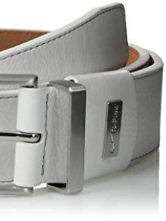 Nike Men/'s Genuine Leather G Flex Silver Square Buckle Belt Black