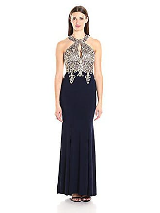 Xscape Womens Long Gown with Emb/Bead Halter Top, Navy/Gold, 12