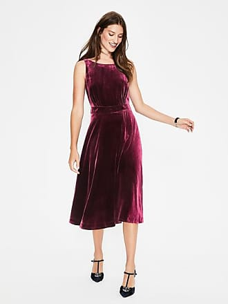 Boden Thomasina Velvet Midi Dress Mulled Wine Women Boden