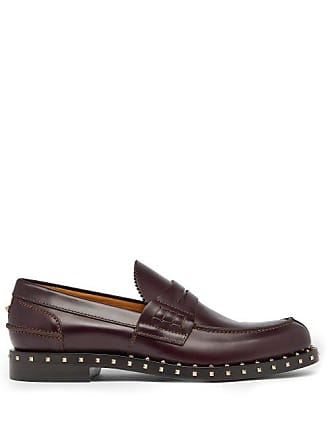 cb5e4ffc8a5 Valentino Soul Rockstud Leather Penny Loafers - Mens - Burgundy
