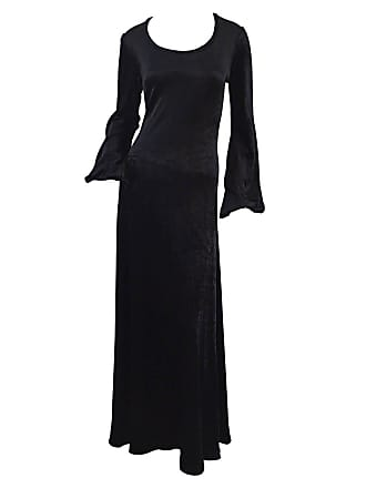 Betsey Johnson Rare Alley Cat By Betsey Johnson 1970s Black Velveteen  Billow Sleeves Dress 2d12c5558