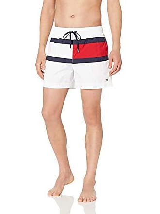 4083ef2437393 Tommy Hilfiger Mens Swim Trunks Mid Length Inseam, White, Small