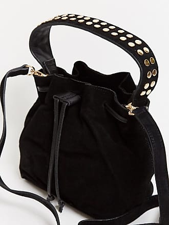 Urban Code suede bucket bag with studded handles in black
