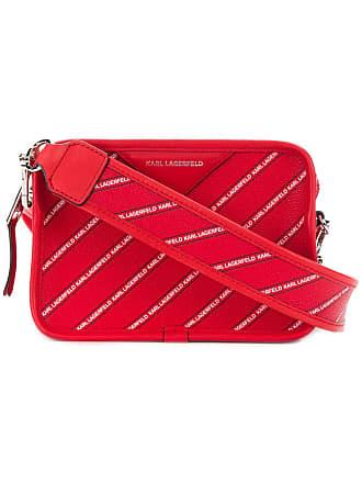 Karl Lagerfeld Bolsa transversal listrada com logo - Vermelho