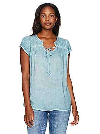 Oneworld Womens Short Sleeve Oil Wash Top with Lace Trim Shoulders and Ties, Aquarelle, M