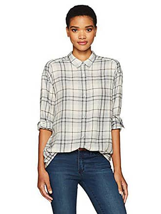 462efa44 Calvin Klein Jeans Womens Long Sleeve Graphic Shadow Plaid Hi Low Button  Down Shirt, Marshmallow