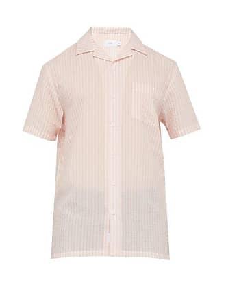 Onia Vacation Striped Short Sleeved Shirt - Mens - Light Pink
