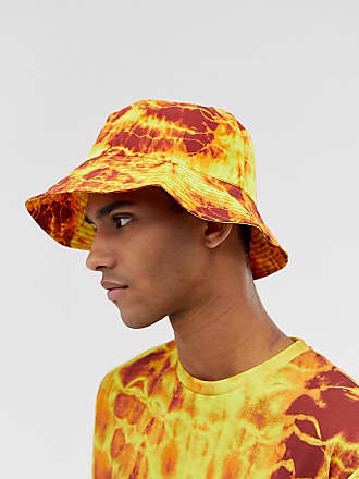 c6cb02c3123cee Asos co-ord wide brim bucket hat in orange and yellow tie dye
