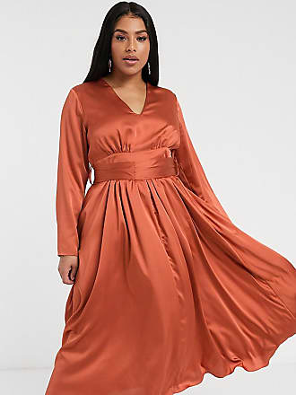 Glamorous Curve plunge front midi tea dress in satin-Orange