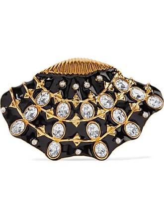 Kenneth Jay Lane Gold-plated, Enamel And Crystal Brooch - Black