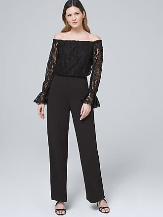White House Black Market Womens Adrianna Papell Off-the-Shoulder Black Jumpsuit by White House Black Market, Size 16