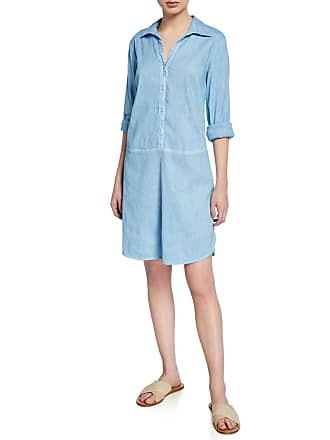 120% Lino Button-Front Long-Sleeve Stretch Linen/Cotton Shirtdress
