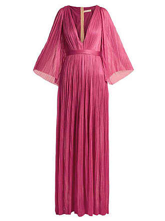 Maria Lucia Hohan Lur Deep V Neck Silk Tulle Gown - Womens - Pink