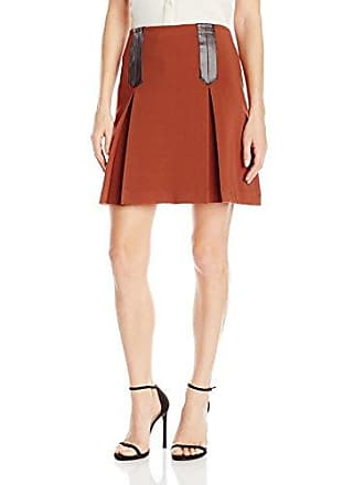 f63dd30e41b4 Nanette Lepore Womens Crepe Skirt with Box Pleat, Cinnamon, 6