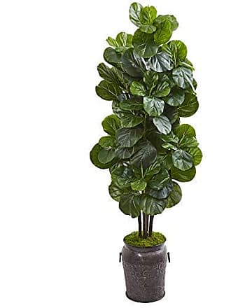 Nearly Natural 9751 6 Fiddle Leaf Fig Artificial Metal Planter Silk Trees Green