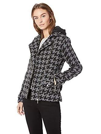Yoki Womens Houndstooth Print Short Wool Jacket, Black/Grey, XL