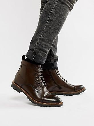 Base London Brigade toe cap boots in brown - Brown