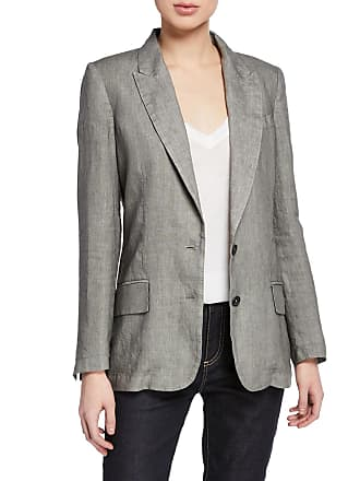 120% Lino Two-Button Linen Blazer with Pockets