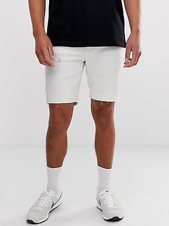 284cf53a639a Bershka Pantaloncini di jeans super skinny bianchi con abrasioni - Bianco