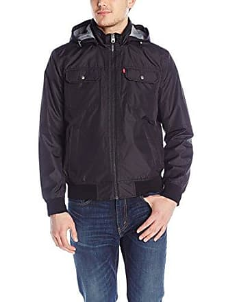Levi's Mens Synthetic Hooded Jacket, Black, X-Large