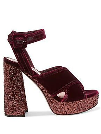 e743b26c48e Miu Miu Miu Miu Woman Glitter-trimmed Velvet Platform Sandals Burgundy Size  36