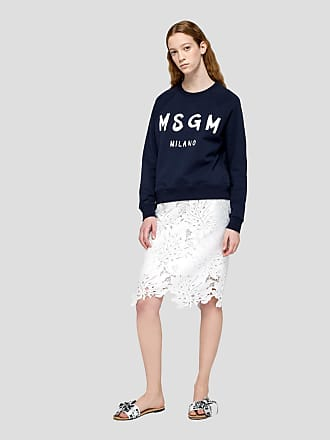 Msgm scoop neck sweatshirt with paint brushed logo