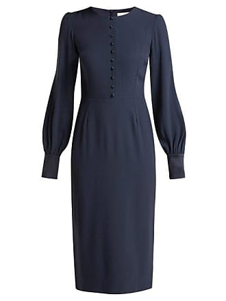 Goat Henessy Crepe Pencil Dress - Womens - Navy