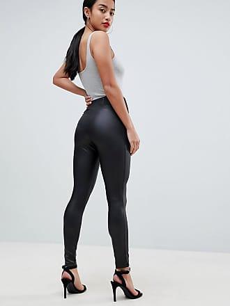9ee5ab2ed8f0e Asos Petite ASOS DESIGN Petite leather look leggings with elastic slim  waist - Black