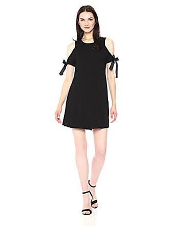 e65f4dff Kensie Womens Drapey French Terry Dress with Cold Should, Black, XS