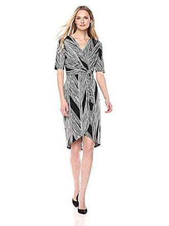 f2bb1f7d28a Ivanka Trump Womens Matte Jersey Printed 3 4 Sleeve Knot TIE Faux WRAP Dress