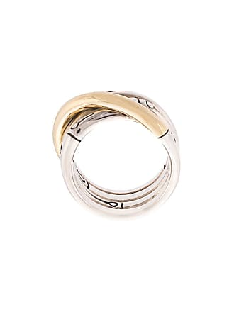 John Hardy 18kt yellow and sterling silver Bamboo band ring