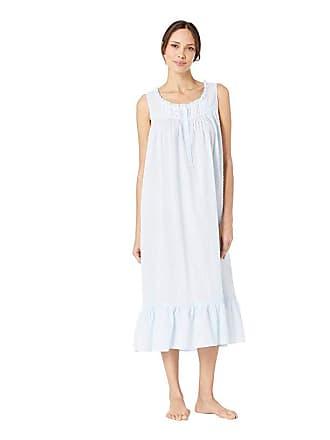 Eileen West Cotton Woven Swiss Dot Sleeveless Ballet Nightgown (Solid Light Blue) Womens Pajama