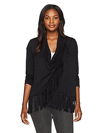Ruby Rd. Womens Silky French Terry Cardigan with Closure and Fringe Hem, Black Large