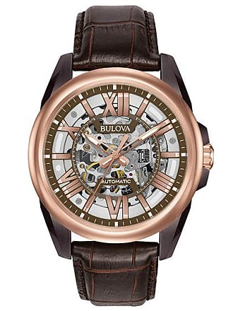 Zales Mens Bulova Classic Automatic Two-Tone Strap Watch with Brown Skeleton Dial (Model: 98A165)