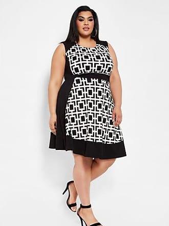 7e297364fd3 Curvy Girl by Ashley Stewart Plus Size Sleeveless Geo Print Skater Dress