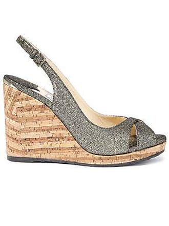 78893555104 Jimmy Choo London Jimmy Choo Woman Amely 80 Metallic Cracked-leather Cork Wedge  Sandals Gold