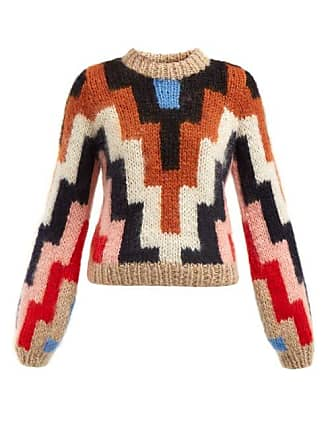 Ganni Julliard Geometric Mohair And Wool Blend Sweater - Womens - Brown  Multi 351f593c7