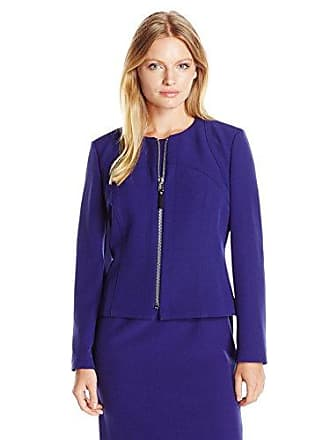 Kasper Womens Petite Size Stretch Crepe Zip Front Jacket, Grape, 6