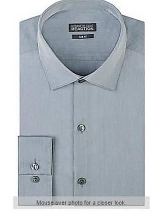 Kenneth Cole Mens Slim Fit Cotton Rich Easycare Long Sleeve Long Sleeve Shirt Silver Chambray 16.5 (34/35 Sleeve)